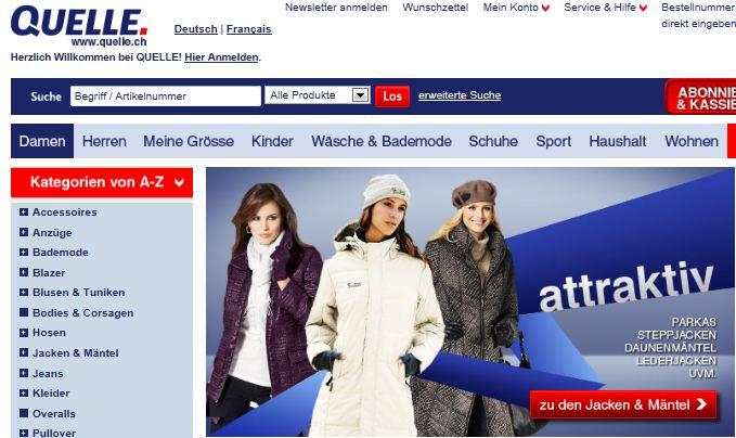 Quelle Versand Schweiz Online Shop