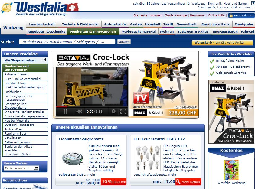 Westfalia Online Shop Schweiz