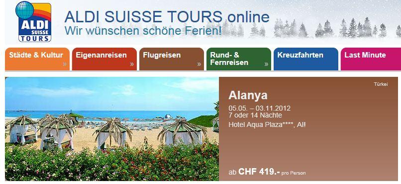 ALDI online Reisen Schweiz