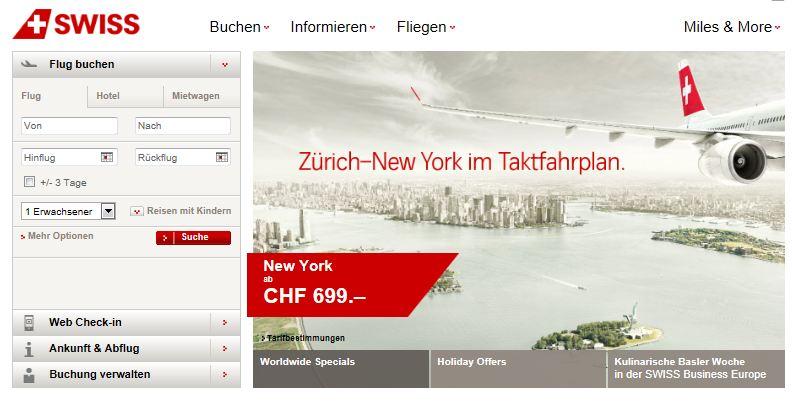 Swiss Online Flugtickets kaufen