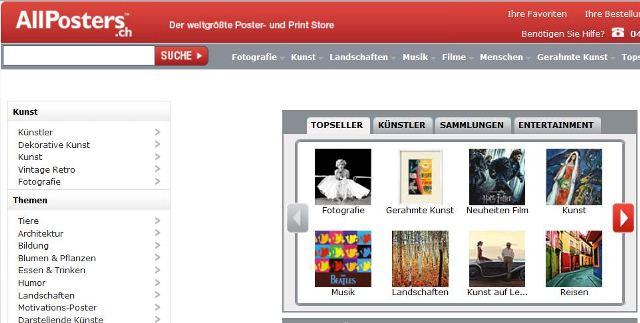 poster bestellen schweiz allposters shop. Black Bedroom Furniture Sets. Home Design Ideas